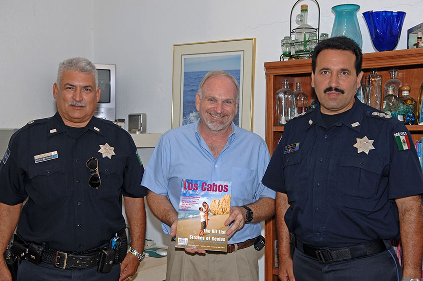 Joe with Cesar Rivera and Captain Martin Armenta of the Mexican Federal Police, 26 July 2010, Cabo San Lucas. Image: DSC_8808