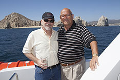 Joe with Dieter Esch, March 11, 2013, press conference for Cabo Marine Show