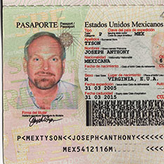 Mexico Passport photo Joseph A. Tyson - 2005